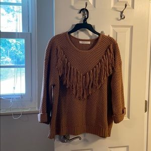 Rust orange cable knit sweater
